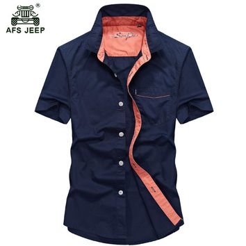 2018 New Cotton Comfortable Male Casual Shirt Men Army AFS JEEP Shirts Short Sleeve Military Shirt M-5XL h60
