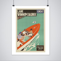 Lake Winnipesaukee Poster - Vintage New Hampshire Travel Print