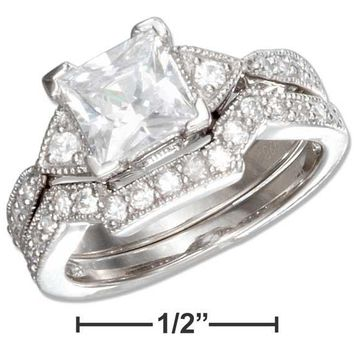 Sterling Silver Vintage Design Princess Cut Cubic Zirconia Wedding Ring Set