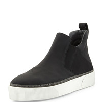 Leather High-Top Slip-On Sneaker, Black - Lanvin