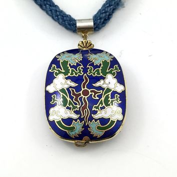 Vintage Cloisonne Necklace. Chinese Trade Export Dragons and Blue Cloisonne Bead