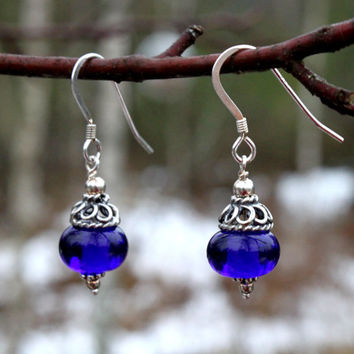 Cobalt Blue Glass Dangle Earrings, Sterling Silver, Lampwork, Glass Jewelry, Handmade,  Blue glass