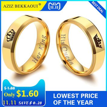AZIZ BEKKAOUI Her King His Queen Couple Rings Gold Color Crown Stainless Steel Rings Wedding Jewelry Promise Bands Dropshipping