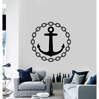 Vinyl Wall Decal Wheel Anchor Sea Ocean Marine Sailor Art Stickers Mural (g813)