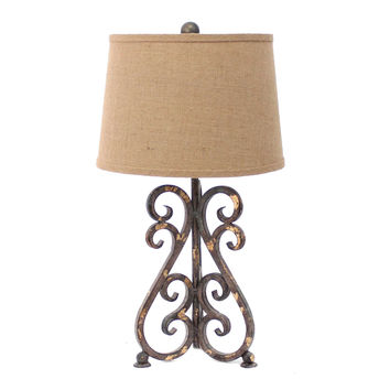 Vintage Metal Table Lamp with Khaki Linen Shade