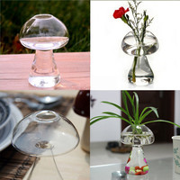 Hanging Mushroom Crystal Flower Vase Hydroponic Container Home Decor Exquisite 69716