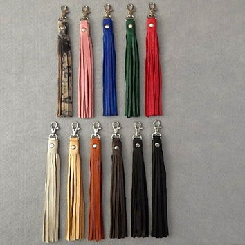 Leather Key Chain Soft Leather Fringe Tassel Keychain Fob Jewelry Purse Hair Wrap Biker Christmas
