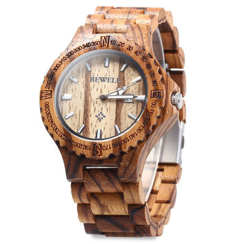 BEWELL Brand Men Wooden Watch  Gift Bangle Quartz Watch with Calendar Display role men relogio masculino watches Relojes