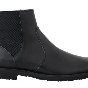 Dolce & Gabbana Black Leather Ankle Stretch Boots