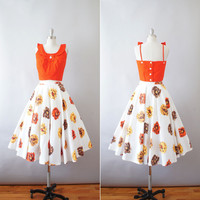 1950s cropped sun top and floral circle skirt / vintage 50s two piece cotton dress / Bright Poppy