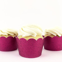 Hot Pink Glitter Cupcake Wrappers - Set of 12 - Party Supplies // Wedding Decorations // Bridal Shower