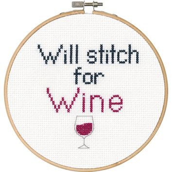 "6"" Round 14 Count Say It! Stitch For Wine Counted Cross Stitch Kit"