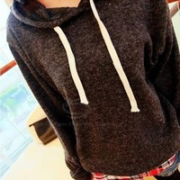 Casual Checked Splicing Long Sleeved Faux Twinset Women's Hoodie
