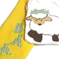 Baby Girl Clothes - Lamb Bodysuit and Pants  - Appliqued Lamb - Fleece Pants Set