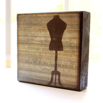 5x5 Wood Art Block Dress Form Rulers vintage distressed sewing free shipping
