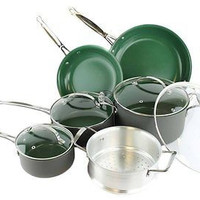 10 Pc Anodized Green Non Stick Cookware Set Pans Pots Cook Kitchenware Free New