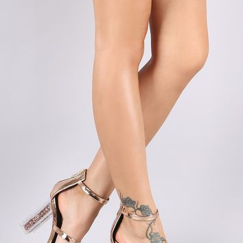 Patent Triple Straps Chunky Clear Glitter Heel