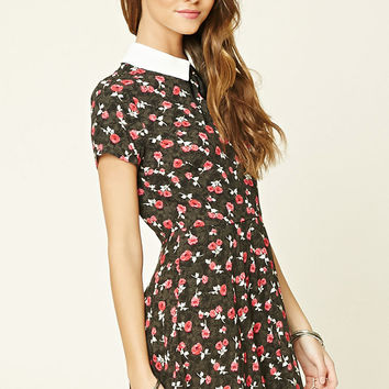 Floral Print Tie-Neck Dress