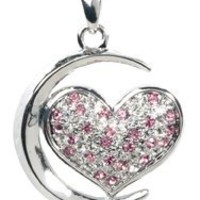 Moon Heart Pendant - Collectible Medallion Necklace Accessory Jewelry