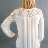 Ivory with Lace Sleeve Top