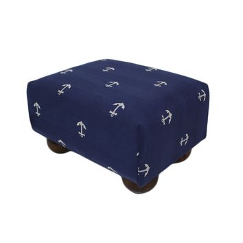Deep Navy Blue Nautical Anchors Upholstered Fabric Footstool Ottoman