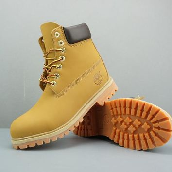 Timberland Leather Lace-Up Boot High Yellow Dark Brown - Best Deal Online