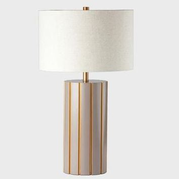 Ziqi Column Table Lamp In Beige/Gold