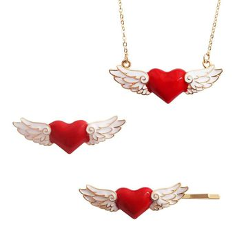 Red Heart Brooches Angel Wings Enamel Pin for Women Lapel Pins Denim Jacket Corsage Scarf Buckle Women Brooch Badge Q383