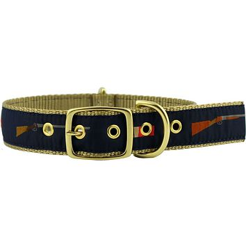Dog Collar in Navy Ribbon on Khaki Canvas with Shotguns and Shells by Country Club Prep
