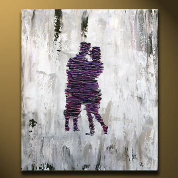 Couple Painting, Anniversary Gift, Romantic Lover Original Painting, Fine Art Contemporary purple silver gray heavy texture canvas