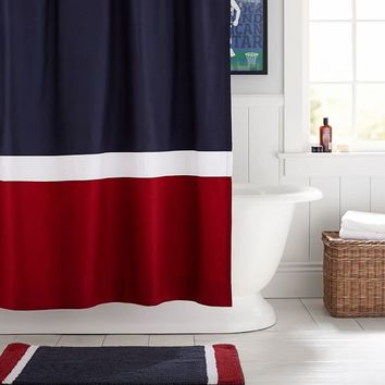 Color Block Shower Curtain, Navy/Red