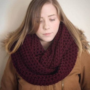 Burgundy infinity scarf, vegan, maroon cowl, cruelty free, circle scarf, tube scarf, knitted, crocheted, ready to ship, hypo allergenic