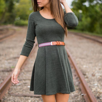 Turn To Travel Dress, Olive