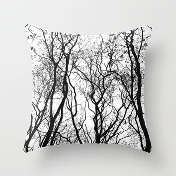 Tree Pillow - Tree Pillow Cover - Velveteen Pillow - Black White Pillow - Woodland Pillow - Nature Decor - Rustic Pillow -Tree Cushion Cover