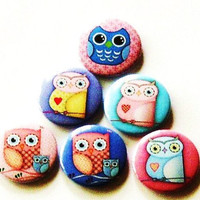 Fridge Magnets - Set Of 6 Owl Refri.. on Luulla