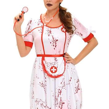 Nurse Nancy Halloween Costume comes with 3 Pieces, with the Skirt Hem Torn Macchar Cosplay Catalogue