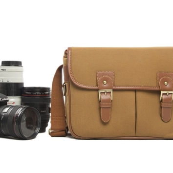Khaki Handcrafted Leather DSLR Camera Bag SLR Camera Bag Professional Camera Bag H120