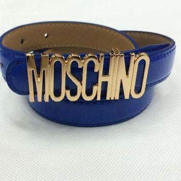 Moschino Men's And Women's Tide Brands Fashionable English Letters High Quality Belt Fashion Wild Candy F Blue