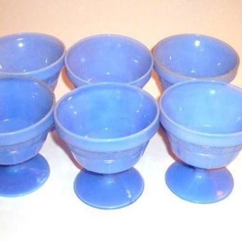 Delphite Blue Milk Glass Footed Sherbet Bowls Set of Six  Milk Glass Jeanette