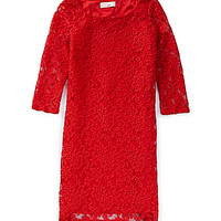 GB Girls 7-16 Lace Shift Dress - Red