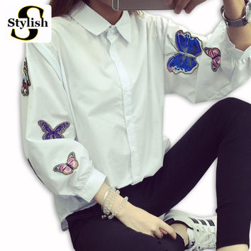 White Blouse 2016 Spring Summer Long Sleeve Butterfly Embroidery Appliques Casual Shirt Women Tops New Fashion Ladies Clothing