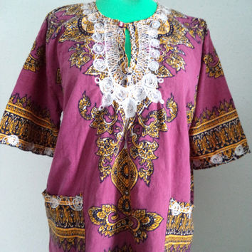 Vintage hippie shirt/ dashiki type shirt with embroidery/ radiant orchid purple bohemian shirt/ size L-XL