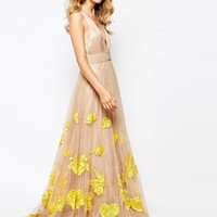 A Star Is Born | A Star Is Born Luxe Plunge Front Full Tulle Prom Maxi Dress With Embellishment at ASOS