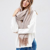 ASOS Oversized Scarf With Tassels In Herringbone Geo at asos.com