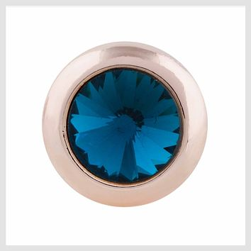 """Rose Gold Teal Stone 19mm 3/4"""""""