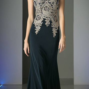 Cinderella Divine 35 Illusion Bateau Neck Embroidered Bodice Navy Floor Length Prom Dress