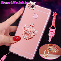 Luxury Bling Diamond Mirror Phone Case Back Cover With Phone Holder Hanging Strap For Huawei P8Lite P9 P10 Plus Honor V8 NOVA V9