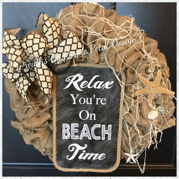 Beach House Wreath, Beach Wreath, Burlap Beach Wreath, Shell Wreath, Beach House Decor, Burlap Beach Decor, Burlap Wreath, Starfish Wreath