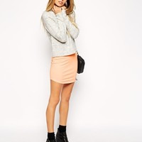 ASOS Mini Skirt in Jersey with Curved Hem at asos.com