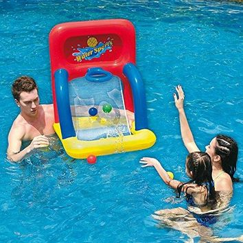 By PoolCentral 34 inch  Red Yellow and Blue Inflatable Swimming Pool Water Sports Basketball Shooting Game